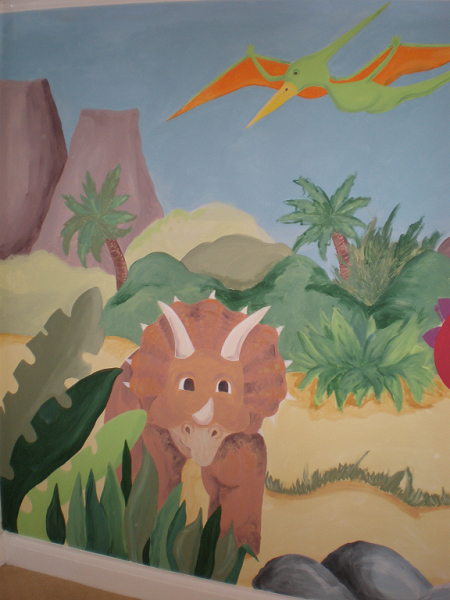 Dinosaur murals inspired spaces for Dinosaur wall mural