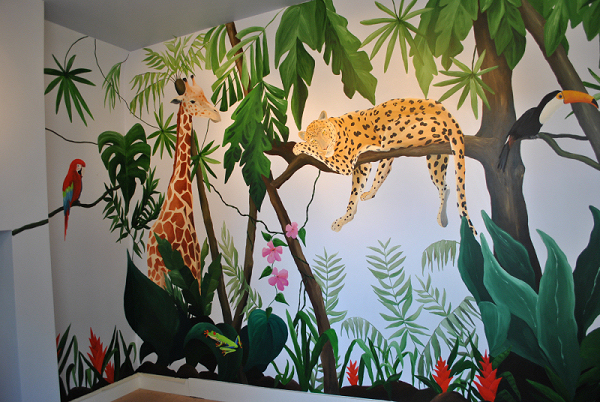 Jungle mural for day nursery inspired spaces for Baby jungle safari wall mural