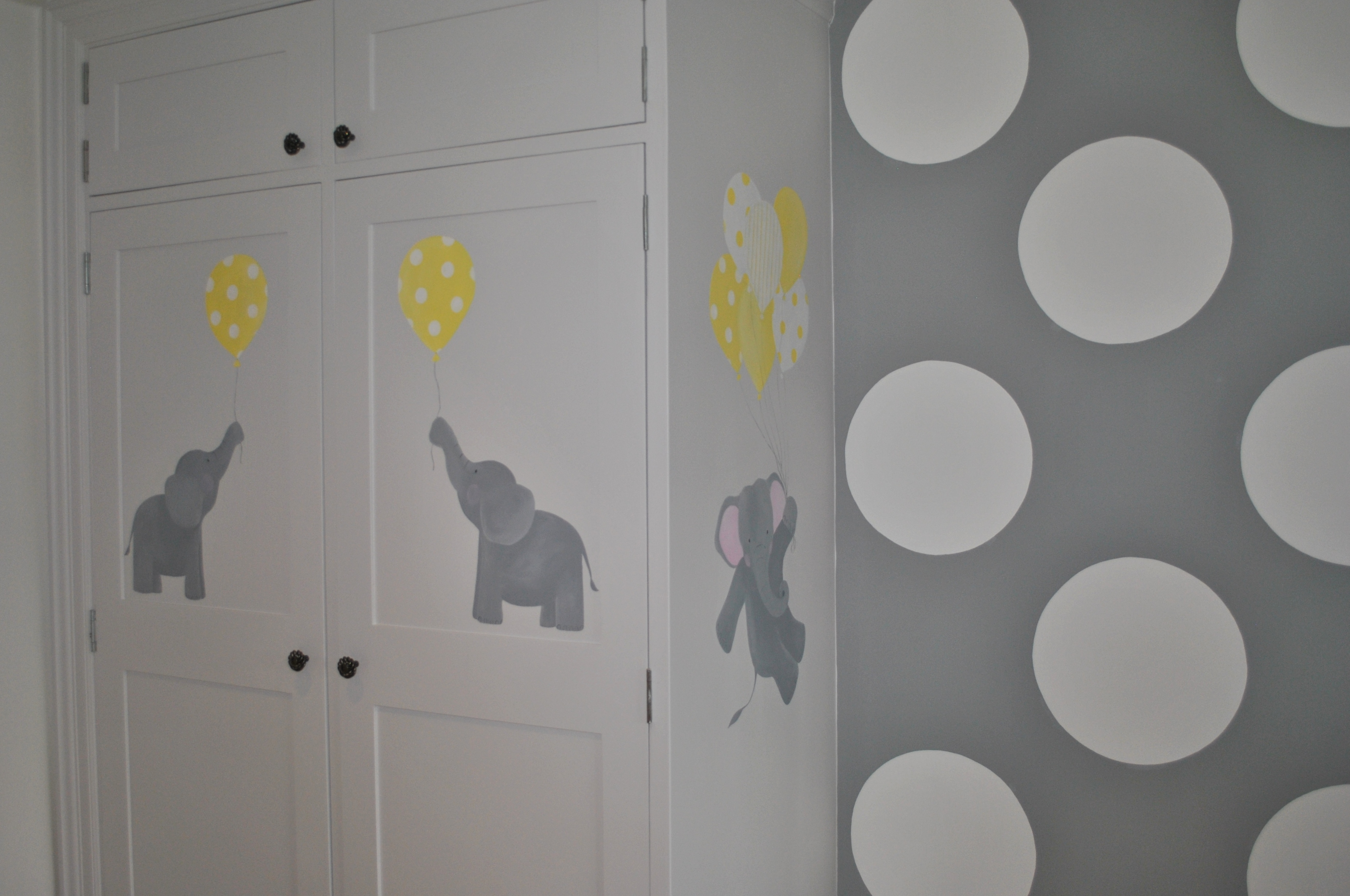 Wardrobe detail 1 inspired spaces for Elephant mural nursery
