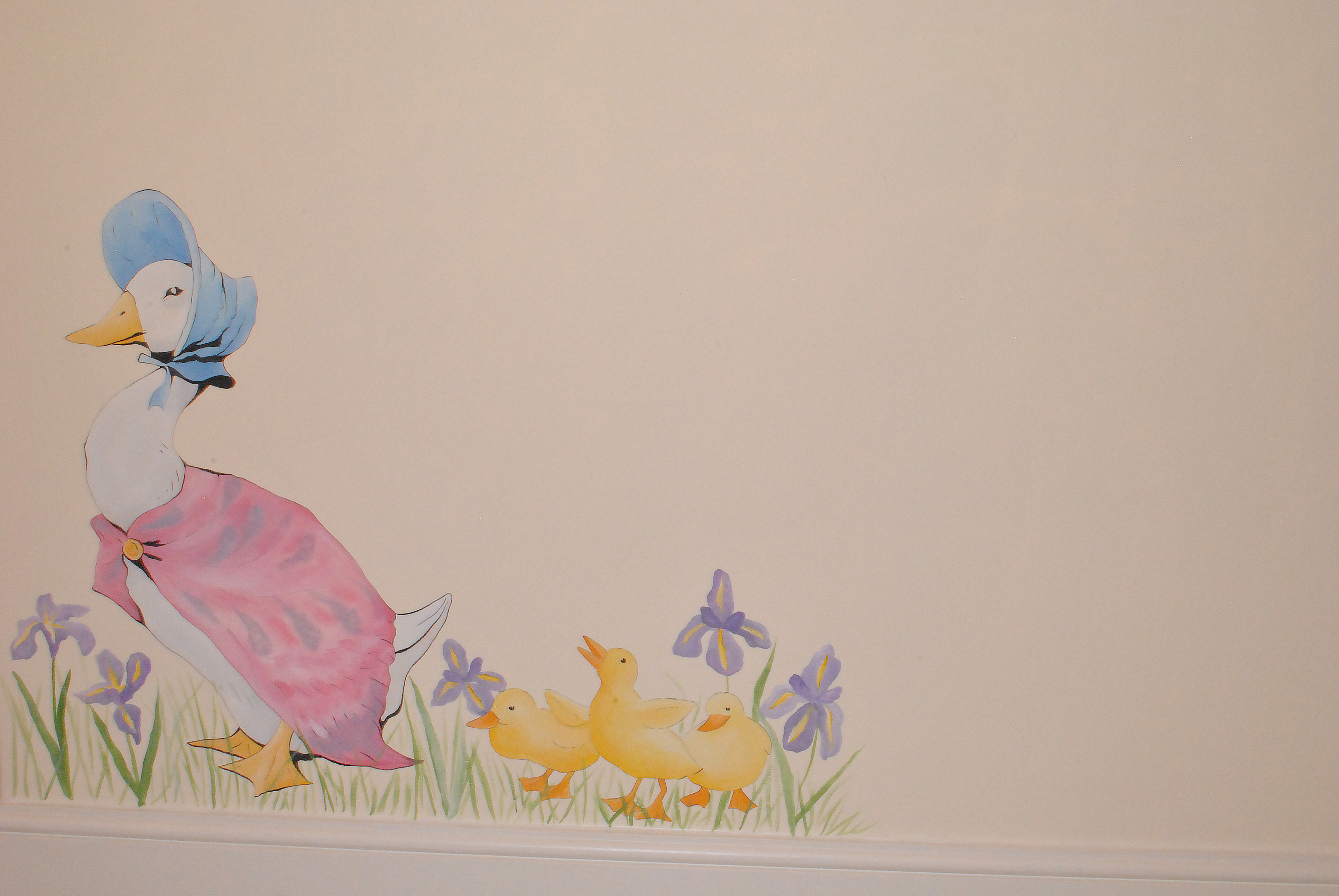Beatrix potter mural for baby nursery inspired spaces for Beatrix potter mural