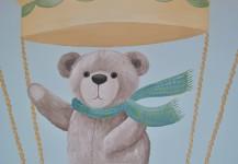 Bear in a Hot Air Balloon Nursery Mural
